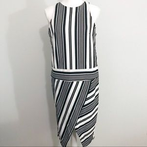 NWT asos asymmetrical striped midi dress